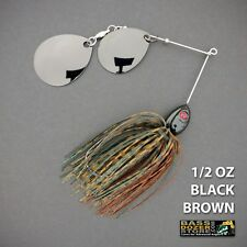 Bassdozer spinnerbaits DOUBLE THUMPER 1/2 oz BLACK BROWN spinner bait lure