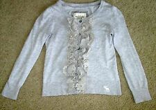 Abercrombie & Fitch Light Heather Gray Cropped 3/4 Sleeve Ruffle Cardigan Small