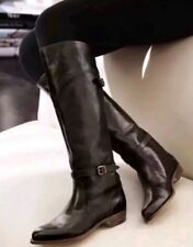 FRYE Dorado Riding Classic Soft Leather Black Knee High Pull On Boots 6.0