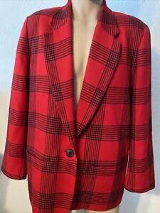 Saks Fifth Avenue  Red 100% Wool Jacket Size 12 blazer office