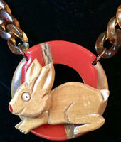 Unique, Ooak Bunny Rabbit Wood & Red Bakelite Necklace