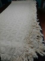 Vintage COTTON Hand Crochet Bedspread Coverlet FULL QUEEN Size 94 x 86~pretty
