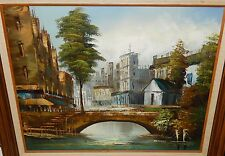 OLIVERI EUROPEAN CITY STREET SCENE BRIDGE ORIGINAL OIL ON CANVAS PAINTING