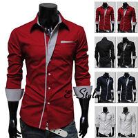 New Mens Casual Formal Shirts Slim Fit Shirt Top Long Sleeve M L XL XXL Size