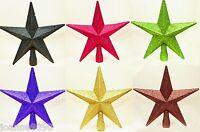 FESTIVE GLITTER SHINY STAR SHAPED CHRISTMAS TREE XMAS DECORATION TOPPER TOP 20CM