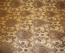 "56"" Wide Monte Cristo Pecan Damask Chenille Fabric with Gold upholstery fabrics"