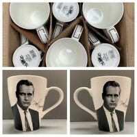 Paul Newman Box of 6 Signed China Tea Coffee Cups Mugs - NEW