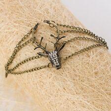 Vintage Bronze Diamond Rhinestone Deer Head Long Antlers Pendant Bracelet.UK