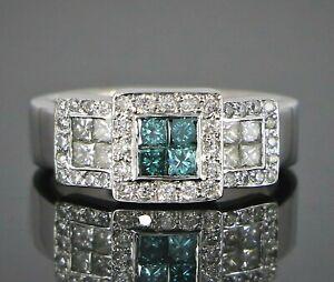 $2,800 18K White Gold 0.75ct Blue Princess Round Diamond Cocktail Ring Band 6.5