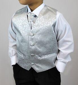 Silver Waistcoat Cravat Suit Set Black Trousers Page Boy Baby Age 3 mths - 8 yrs