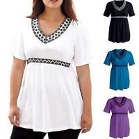 Plus Size Women Casual Summer V Neck Short Sleeve Chiffon Loose T Shirt Tops HOT