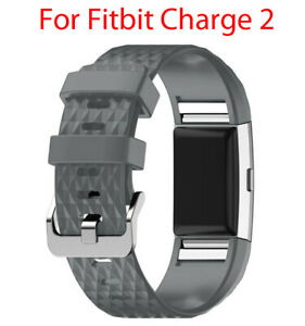 Replacement Strap For Fitbit Charge 2 Band Silicone Grey - Large / Small