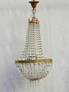 """Mid century balloon-shaped semi-crystal and brass chandelier 27½"""""""