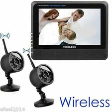 "Wireless 2.4G 4CH Quad DVR 2 Camera with 7"" TFT LCD Monitor Home Security System"