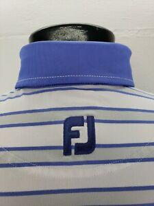 Footjoy FJ Athletic Fit Golf Polo Shirt Mens Medium Blue Gray Stripes CC Logo