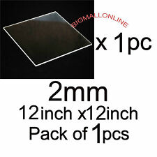 "Acrylic Sheet / Plexi Glass CLEAR Transparent 12"" x 12"" 2mm - 12 inch x 12 inch"