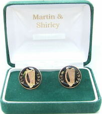 1992 IRELAND cufflinks made from OLD IRISH COINS in black & gold