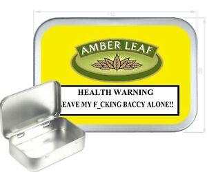 Amber Leaf  Warning Tobacco Tin, Silver Hinged Empty Tobacco Tin,150ml Gift Box