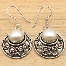 Real White Pearl Retro Style Inexpensive Earrings ! Silver Plated Over Copper