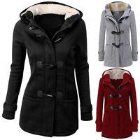 Warm Womens Ladies Hooded Parka Fleece Top Size Winter Long Jacket Coat Outwear
