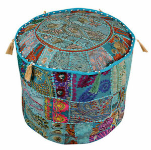 Indian Kantha Pouf Handmade Foot Stool Floor Cushion Bohemian Ottoman Pouffe