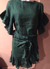 Isabel Marant Etoile  DELICIA SZ 34/2 Forrest Green 100% Linen Wrap Dress # 1862