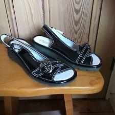 Heavenly Feet Faux Patent Leather Sling Back Sandals Uk 5 Eu 38 Black Wedge Flat