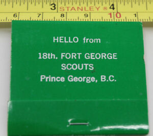 Boy Scouts BC Yukon Jamboree Matchbook Cover 18th Fort George Prince George