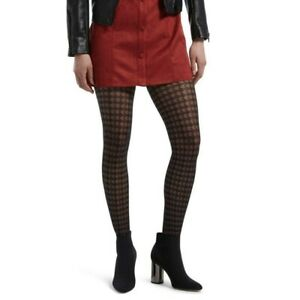 HUE Women's Houndstooth Sheers with Control Top Pantyhose Black Size 1 NEW NWT