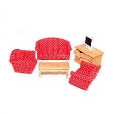 Dolls House 5383 Wohnzimmer rotes Sofa, Sessel 5-teilig 1:12 Puppenhaus NEU! #