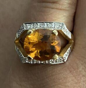 Estate 14K Laura Ramsey Citrine & Diamond & Ring
