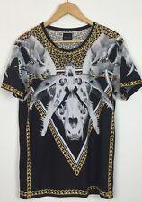 Da Uomo Zara Leopardato Animale RAM ossa del cranio URBAN T Shirt Top UK S