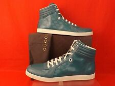 NIB GUCCI TURQUOISE IMPRIME LEATHER ACE GG GUCCISSIMA HI TOP SNEAKERS 12.5 13.5