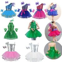 Girl Ballet Dance Dress Sparkly Latin Jazz Dancewear Costume One-Shoulder Outfit