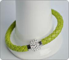 Mens Womens Leather Bracelet Bangle Silver Magnetic Rhinestone Free Gift Bag 73