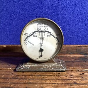 A VINTAGE - ART DECO? -  METAL ROTOTHERM DESK THERMOMETER