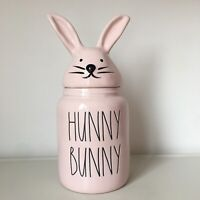 New Rae Dunn Easter 2020 HUNNY BUNNY Pink Baby Small Canister W/ Bunny Head Lid