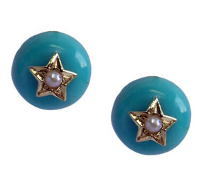 s 968 Genuine 9K Solid Gold Natural Turquoise & Pearl Star Stud Earrings