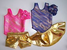 """Two 3piece Sets Gymnastics Dance Leotard Clothing to fit 18"""" American Girl Dolls"""