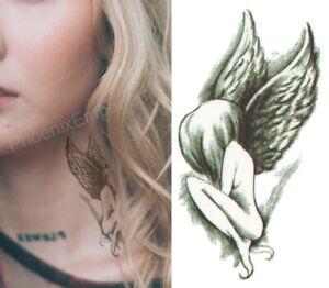 Temporary Tattoo Black Small Angel Wings Fake Body Art Sticker Waterproof UK