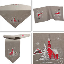 Red Church Snow Fir Winter Embroidery Tablecloth Table runner Overlay Grey