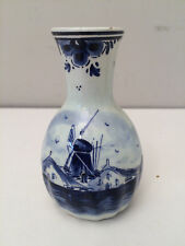 Vintage Vase Holland Hand painted Blue White Windmill