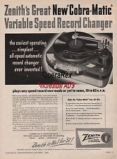 ZENITH, COBRA MATIC RECORD CHARGER, Original Vintage Magazine AD 1952