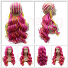 Long Wavy Synthetic Hand Tied Lace Front Wig (Multi Color S6)