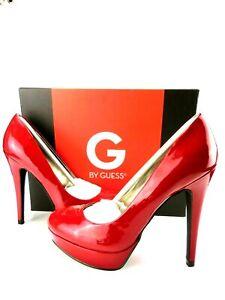 G By GUESS GGWINNA Patent Leather Platform Stiletto Red LL Pump Size 6.5 M Fem
