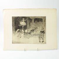 Art Deco etching circus act clown horse Christine McGregor antique #47