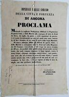 Bando Repubblica Romana Fortezza di Ancona ordine di consegna delle armi 1849