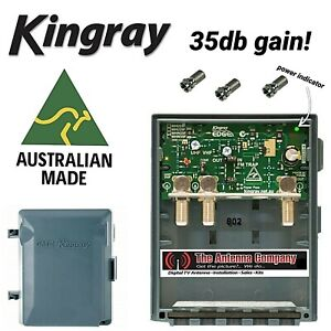 Kingray MHW35F 35dB Masthead TV Amplifier booster power supply and f connectors