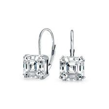 3 CT Solitaire Square Asscher Cut Cubic Zirconia Drop Earrings Sterling Silver