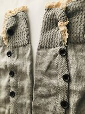 BNWOT Women's Unbranded Knitted Long Leg Warmers With Buttons - Size OSFA